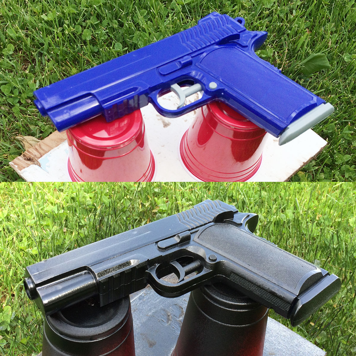 Testing black spray paint on a toy gun for a future shoot