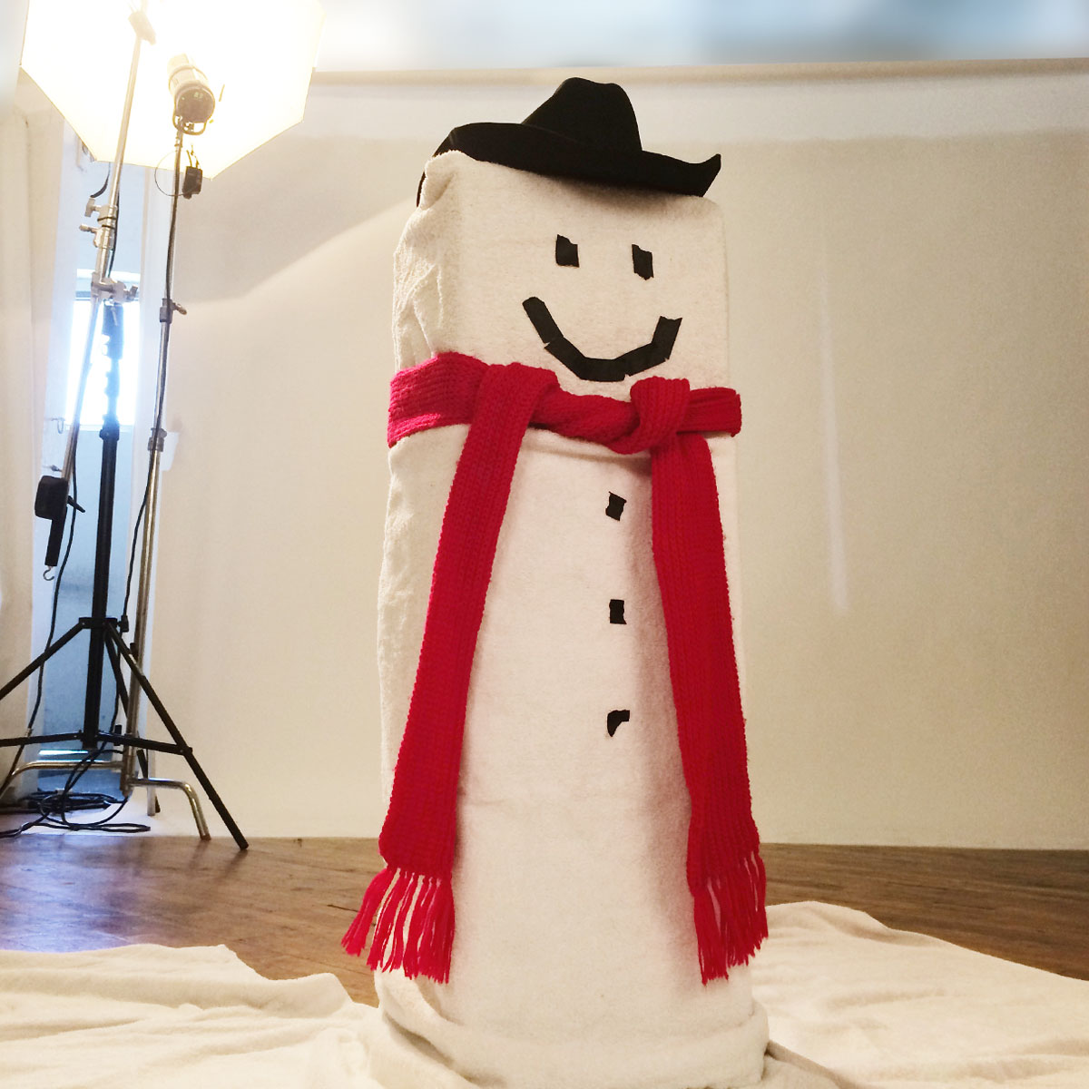 A quickie snowman I built for a model to act with on set (to be replaced by a stock photo of a proper snowman later)...